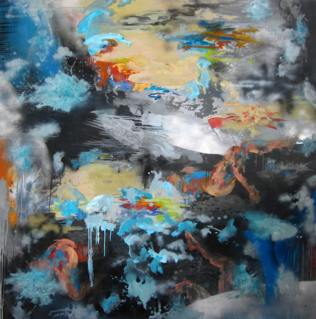 Perdition, 2009 Oil and car paint on canvas 180x180cm