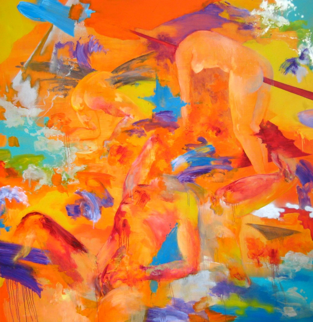 Orange Battlefield, 2009 Oil and car paint on canvas 200x200cm